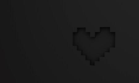 3D pixel heart wallpaper background graphic Stock Photo