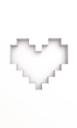 3D pixel heart shape wallpaper background Stock Photo