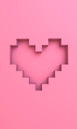 3D pixel heart wallpaper background graphic Stock fotó