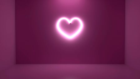 3D neon heart on the wall
