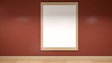 3D illustration render of empty room wall and floor with frame