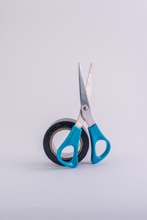 sellotape: Scissors and black tape