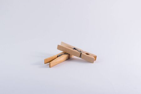 clothespeg: Clothespins on white background Stock Photo