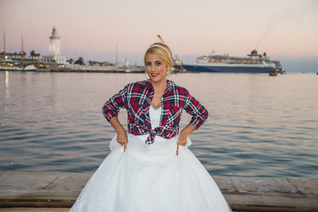 photography session: Blonde bride with plaid shirt
