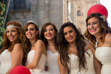 photography session: Five brides Stock Photo