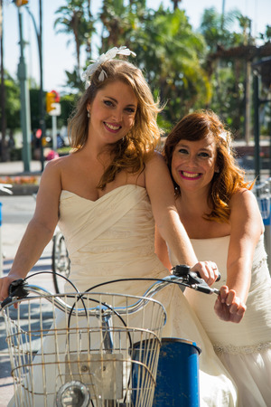 photography session: Two Brides on a bicycle