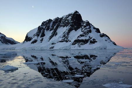 Exit of Lamaire Strait, Antarctica by night Stock Photo - 390836