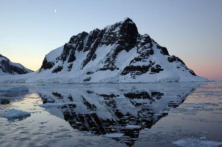 strait: Exit of Lamaire Strait, Antarctica by night Stock Photo