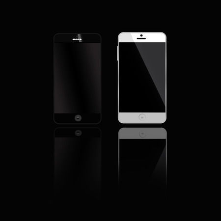 telecommunications equipment: Mobile phones black and white