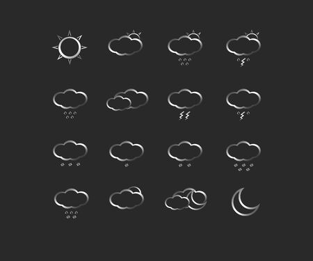weather icons: Silver weather icons for web Illustration
