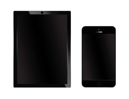 modern palmtop: Black tablet pc and mobile smart phone Stock Photo