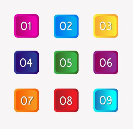 Number buttons set Vector