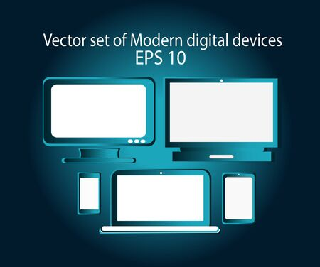mobile devices: Mobile devices vector blue