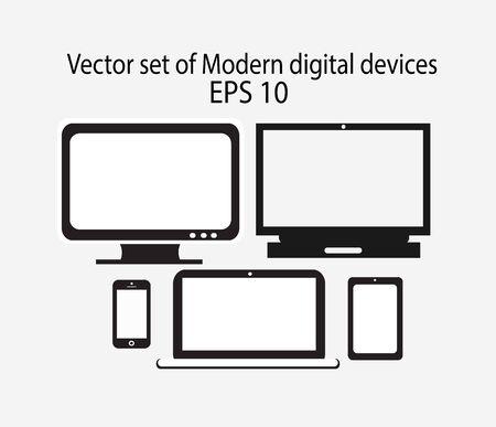 Modern digital devices vector Vector