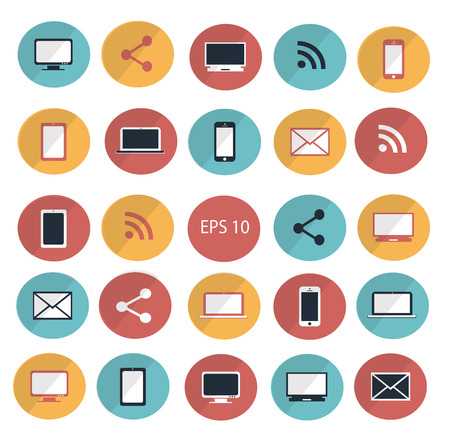 Computer devices icon set vector