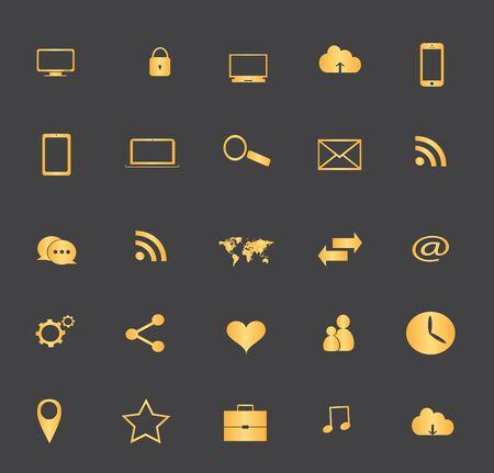 digitized: Los medios de comunicaci�n icono conjunto ilustraci�n vectorial icono de los medios de comunicaci�n establecido ilustraci�n vectorial