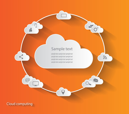 cloud background: Cloud computing orange color background