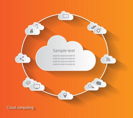 cloud computing: Cloud computing orange color background