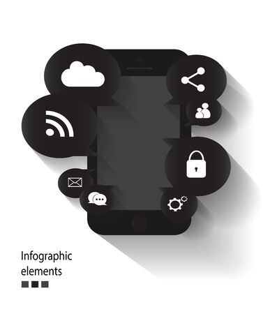 media icons: Infographic vector mobile phone with media icons