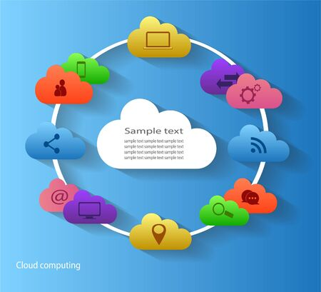 conection: Cloud white computing in circle with blue background technology and media icons vector