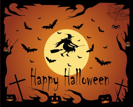halloween lantern: Halloween background vector witch with bats and owls