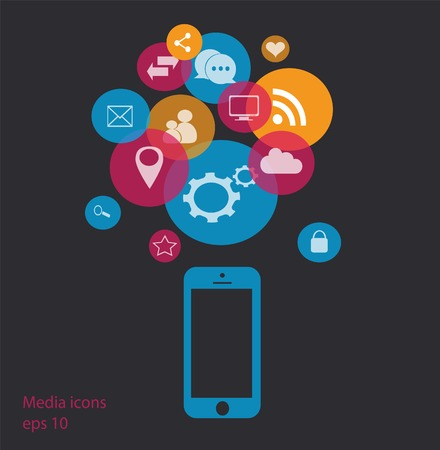 talk bubble: Flat mobile phone vector with social media icons blue vector eps 10 Illustration