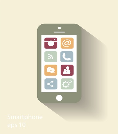 talk bubble: Smartphone vector modern icon illustration with social media icons