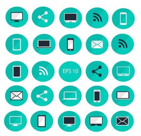 digitized: Digital devices icon set vector illustration  Digital devices icon set neon