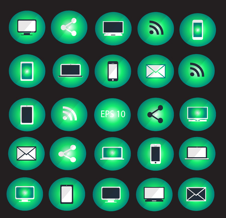 digitized: Digital devices icon set illustration neon color  Digital devices icon set green