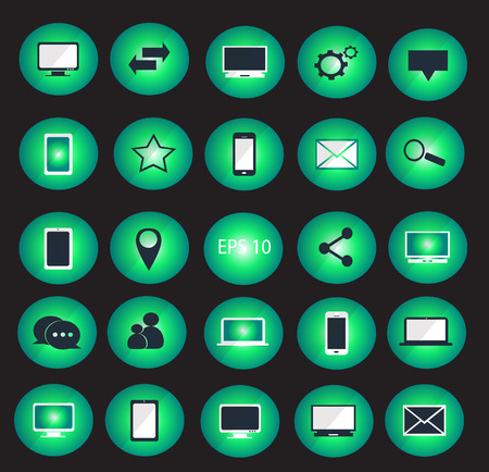 multitask: Digital devices icon set illustration  Digital devices icon set neon color