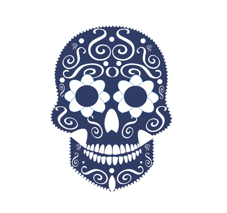 white sugar: skull for fashion design, background or tattoo