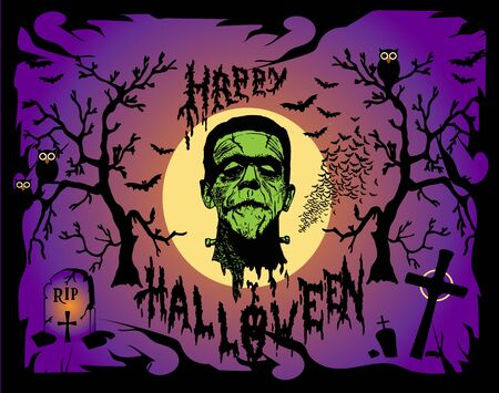 Halloween background vector, with Frankenstein head Illustration