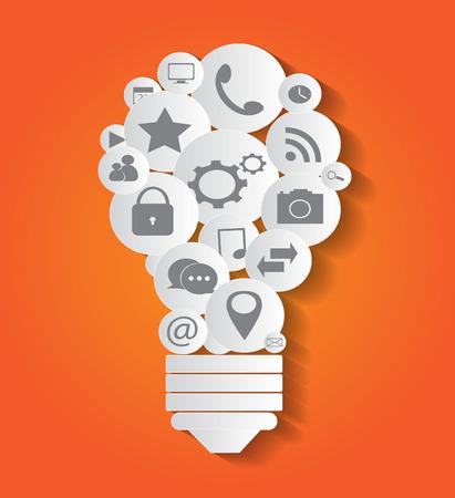 Social media light bulb vector infographic orange