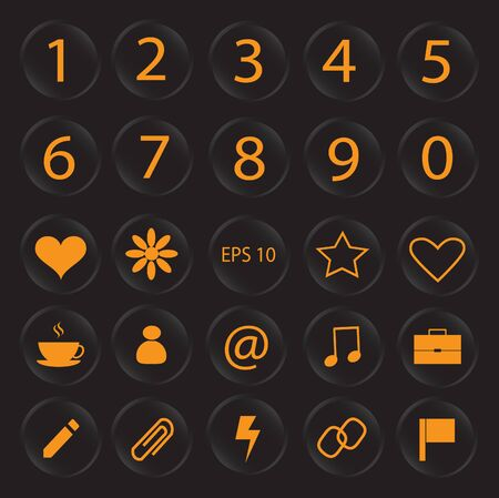 secondary colors: Number vector buttons and icons design neon color