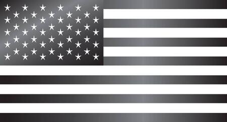 black american: USA Flag, American flag vector metallic black and white Illustration