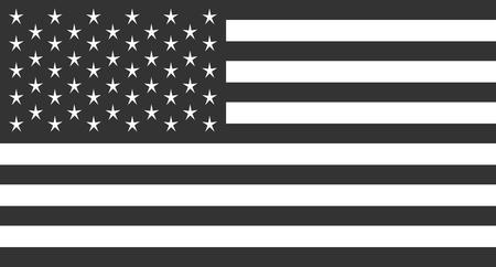 USA Flag, American flag vector metallic black and white Illustration