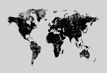 Grunge world map vector bllack Illustration
