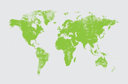 Grunge world map vector green