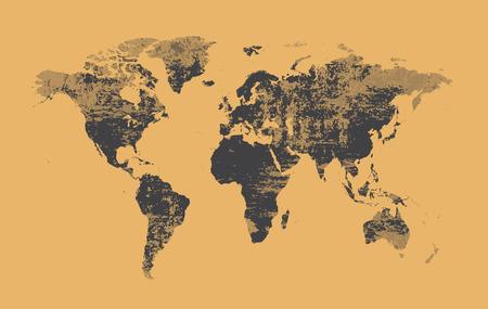 world map grunge old style vector Çizim