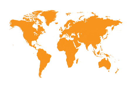 clearly: world map orange flat design