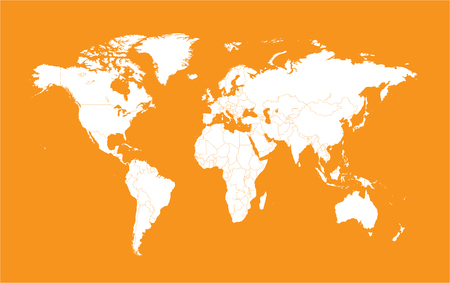 world map with borders orange color Illustration