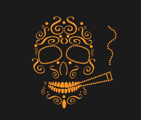 orange color: Skull vector background with cigarette orange color
