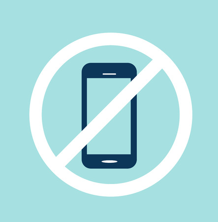 cell phones not allowed: No cell phone sign blue vector