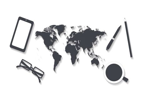 World map office desk, traveling