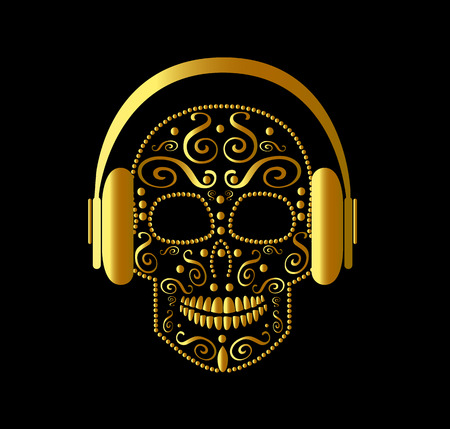 Skull vector with headphones gold color