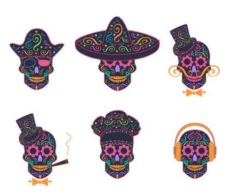 Skull icon with sombrero, pirate, gentlemen, with headphones and kitchen chef Illustration