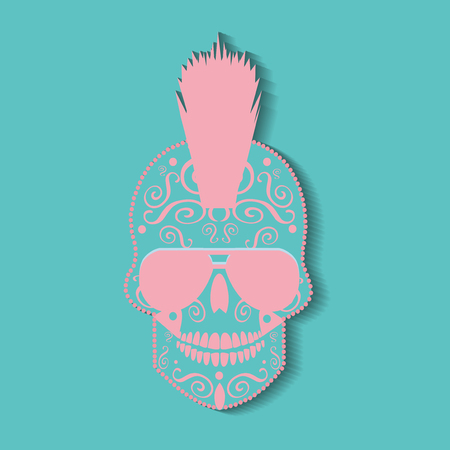 Punk skull icon background pastel colors Illustration