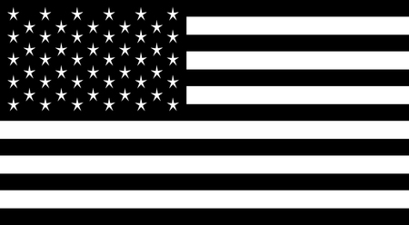 American flag black and white vector illustration. Иллюстрация