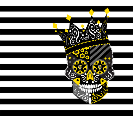 King skull icon abstract with black and white background