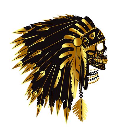 Skull with American Indian war bonnet, vector illustration Illustration